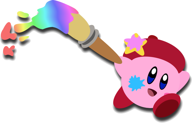 Paintbrush clipart pink. Kirby and the rainbow