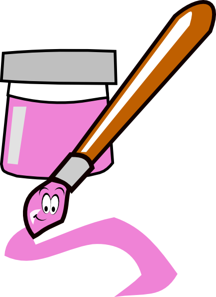 Clip art at clker. Paintbrush clipart pink