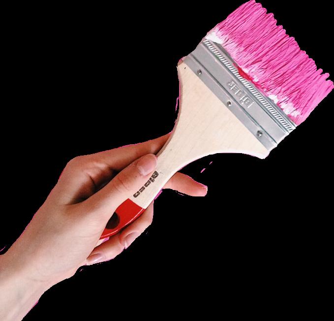 Hand holding paint brush. Paintbrush clipart pink