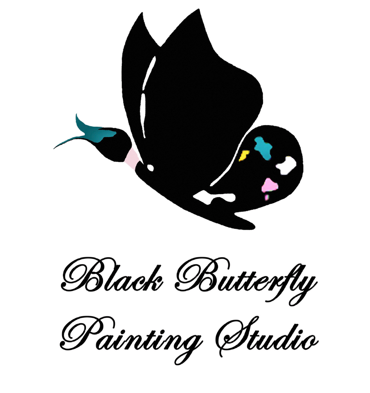 Kids event black butterfly. Paintbrush clipart pottery painting