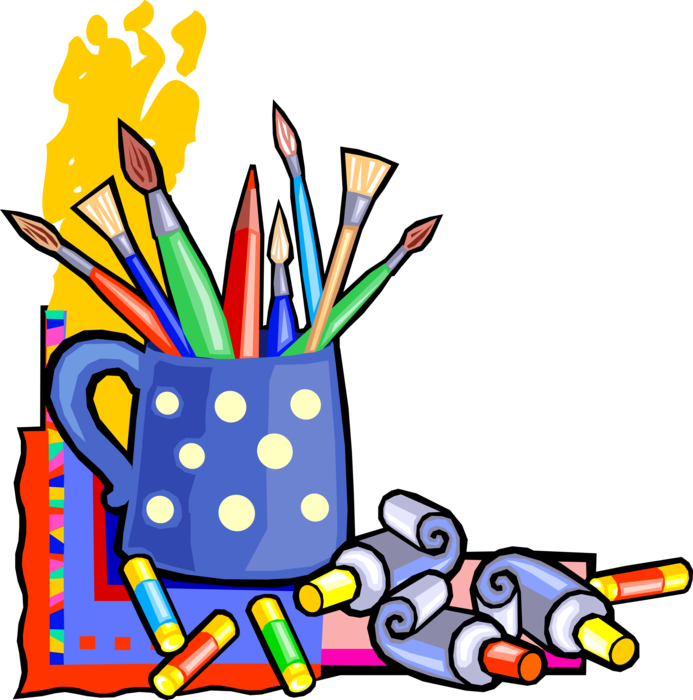 Paintbrush clipart visual art. Artist s paintbrushes and