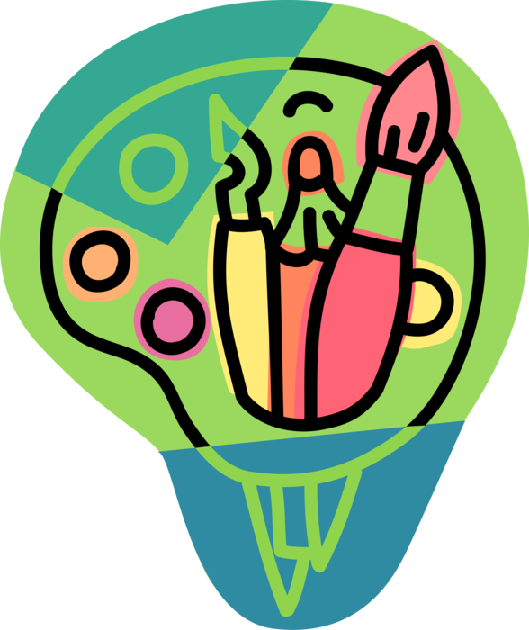 Paintbrushes and drawing tools. Paintbrush clipart visual art