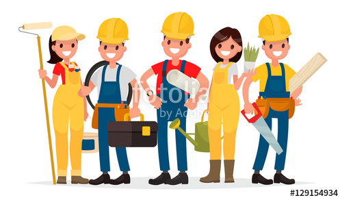 Painter clipart building. Team of workers are