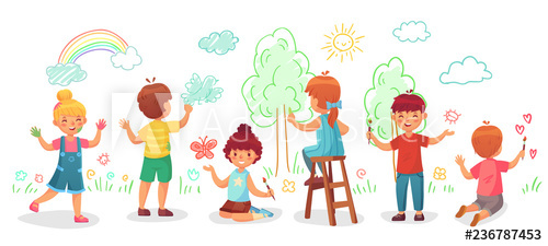Kids drawing on wall. Painter clipart child painting