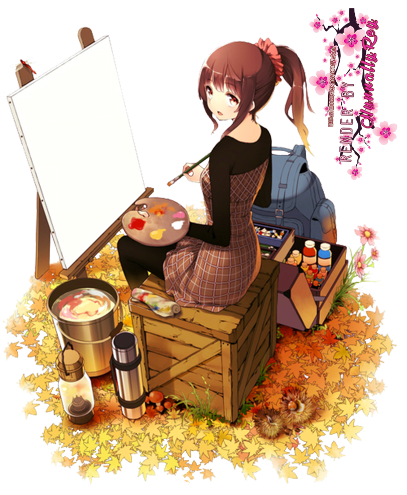 Anime girl render by. Painter clipart lady painting