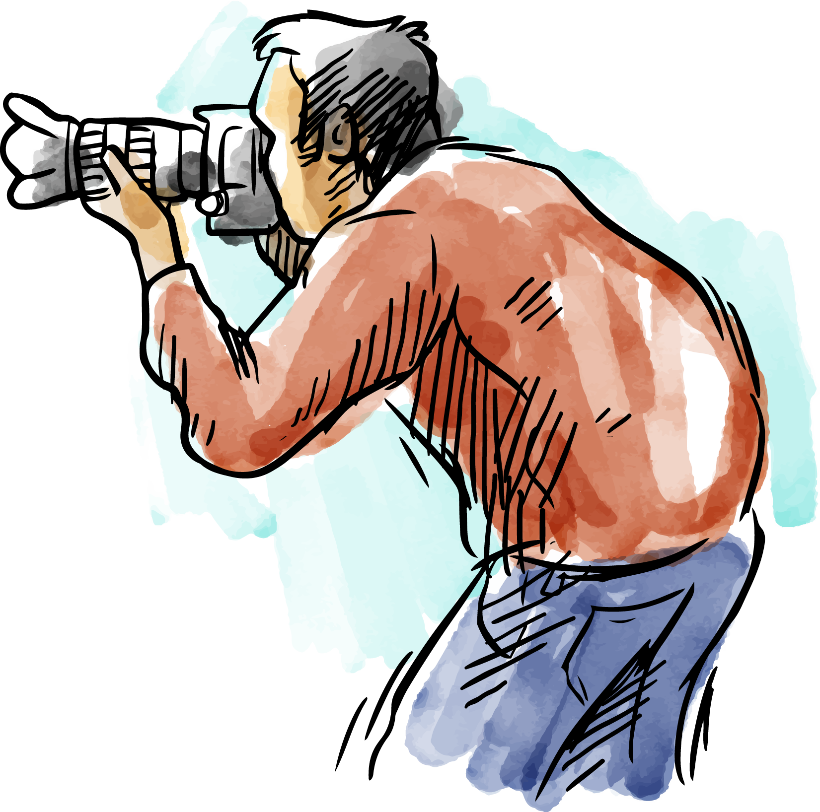 Watercolor painting drawing photographers. Photography clipart male photographer