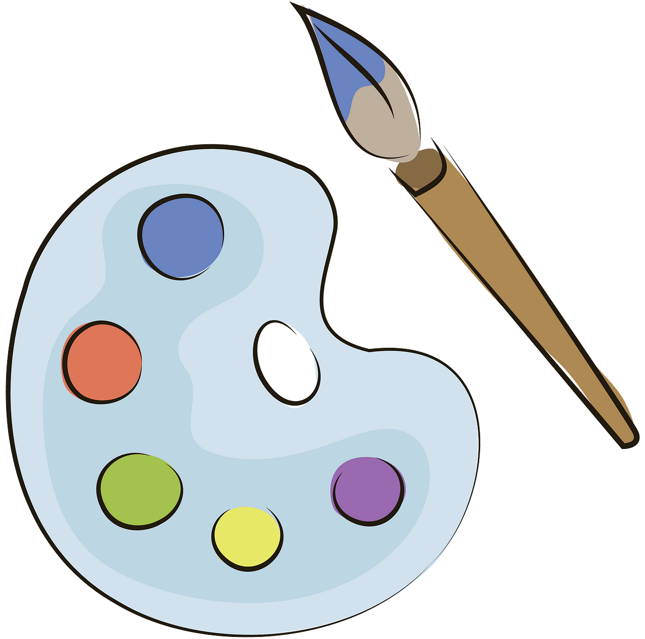 Palette and brush free. Painter clipart needed