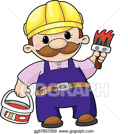 Painter clipart needed. Vector art house drawing
