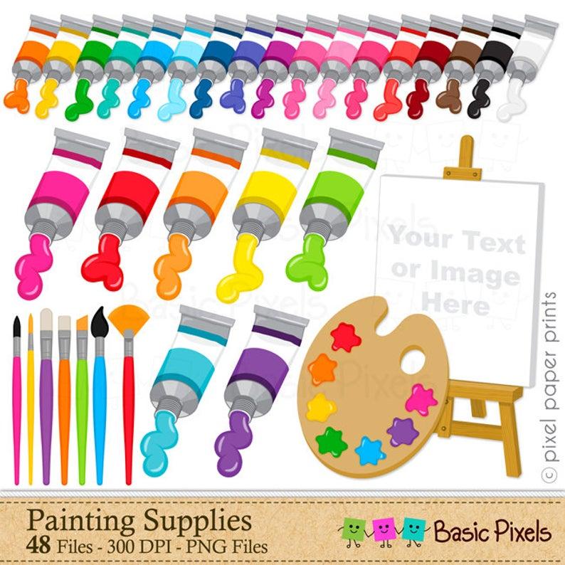Supplies digital clip art. Painter clipart painting material