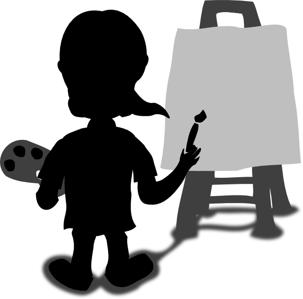 Painter clipart person painting. Cartoon character blank slate