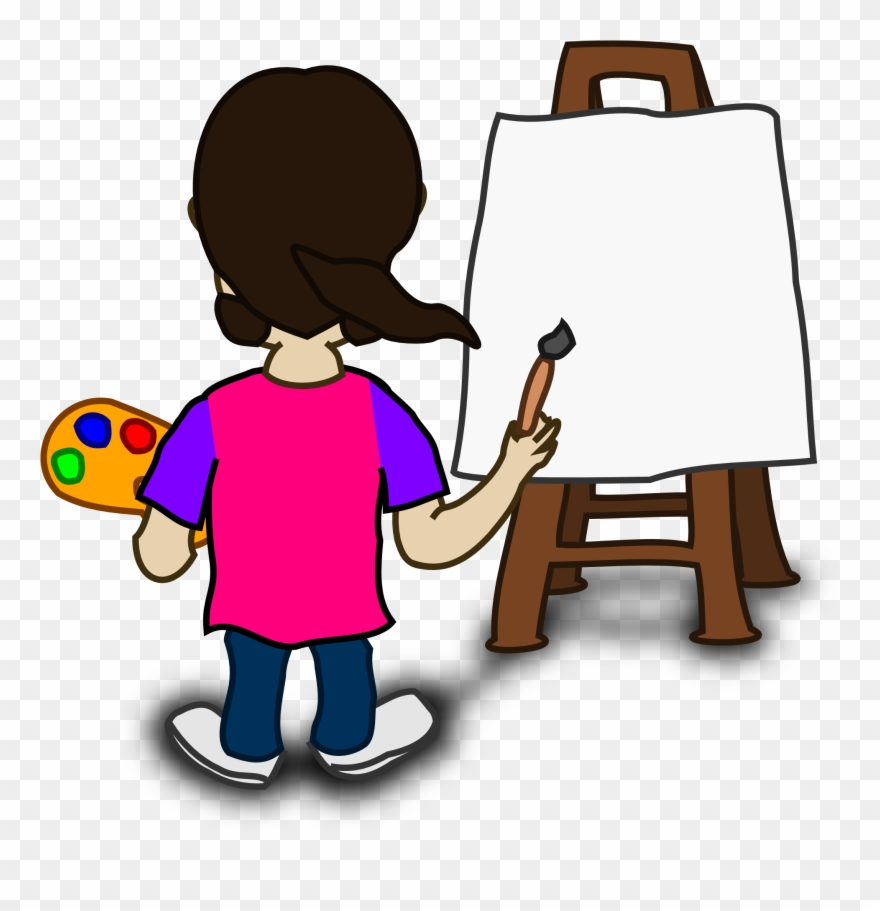 Banner transparent painter cartoon. Painting clipart painting board