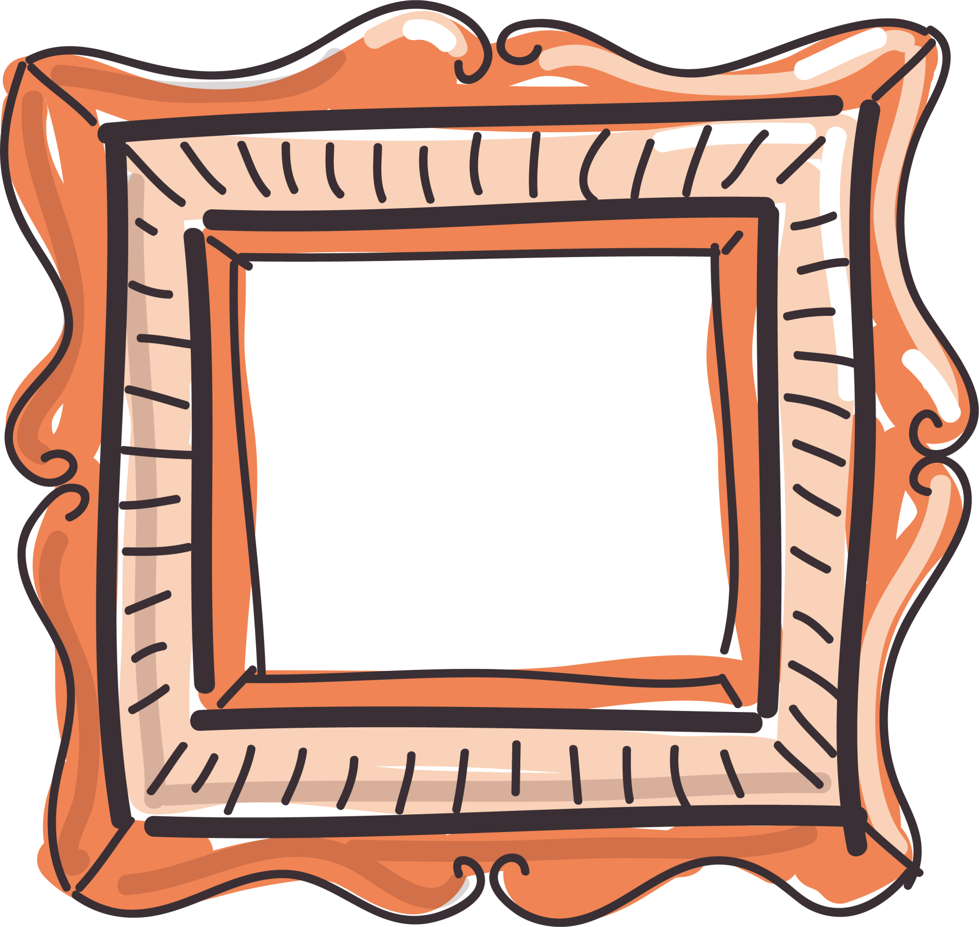 Picture frame painting clip. Square clipart photograph border