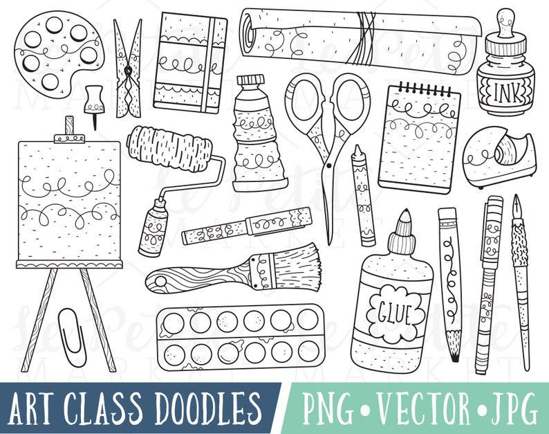 Painting clipart art classroom. Class doodles images doodle