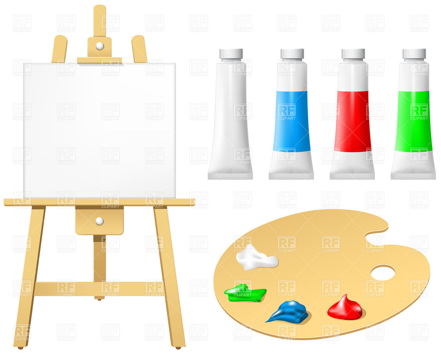 Painting clipart painting board. Download easel paint palette