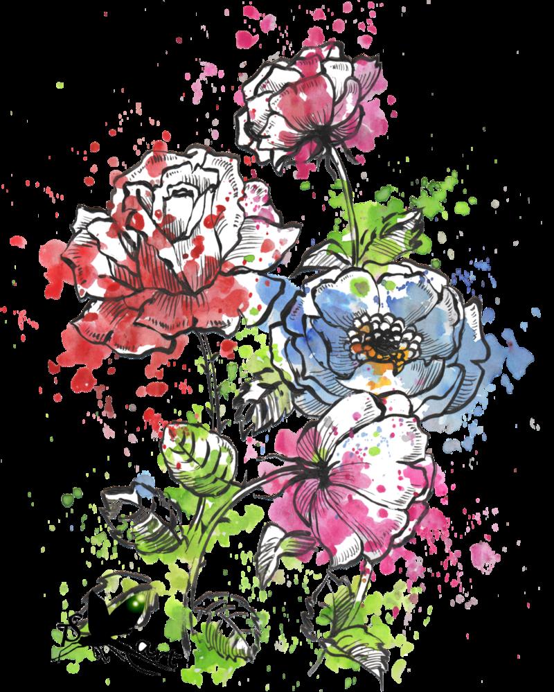 Watercolor flowers by krmiol. Water color flower png