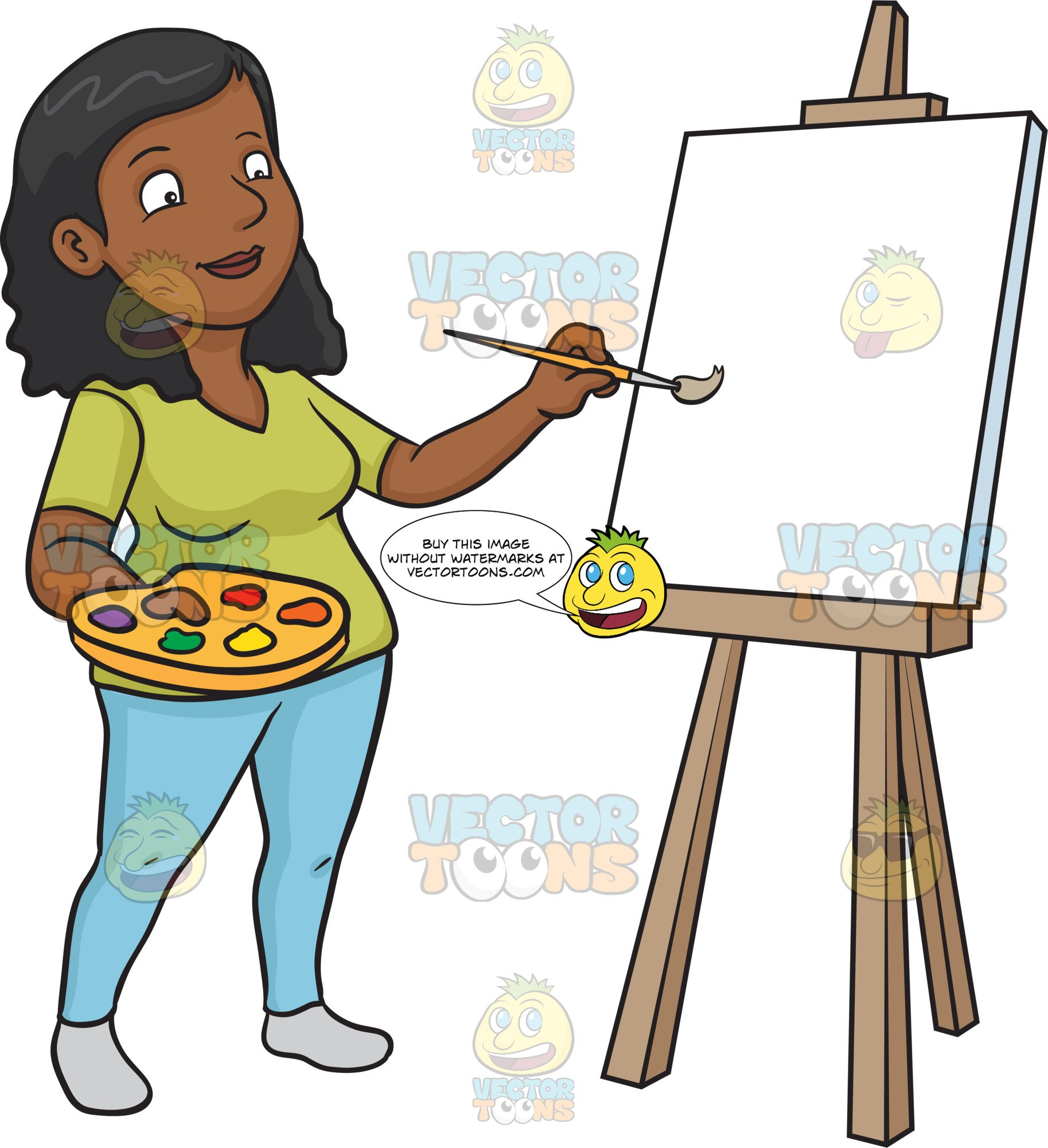 A black on blank. Painting clipart woman painting