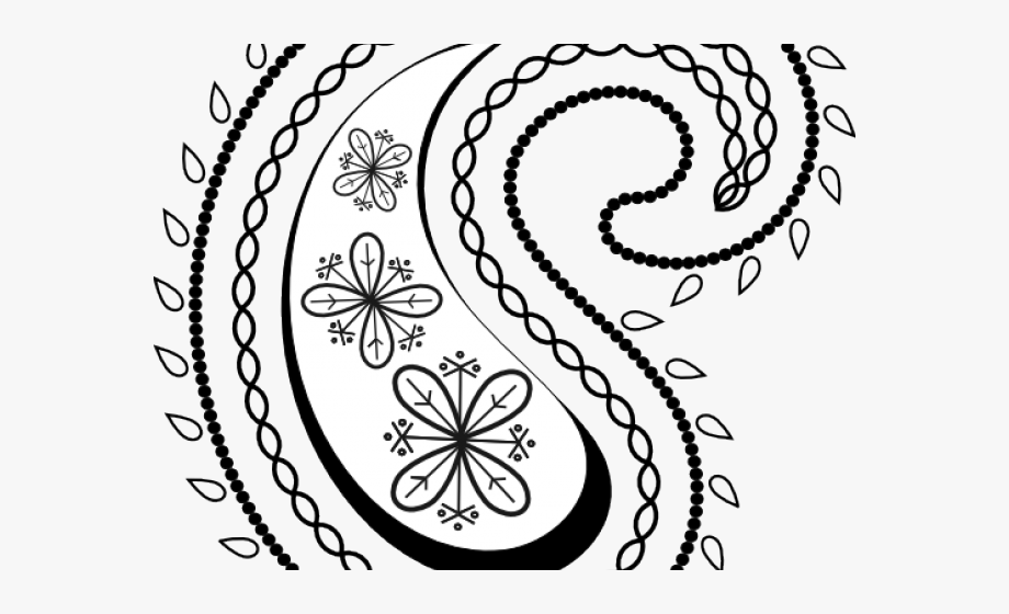 Paisley clipart. Curve print look dia
