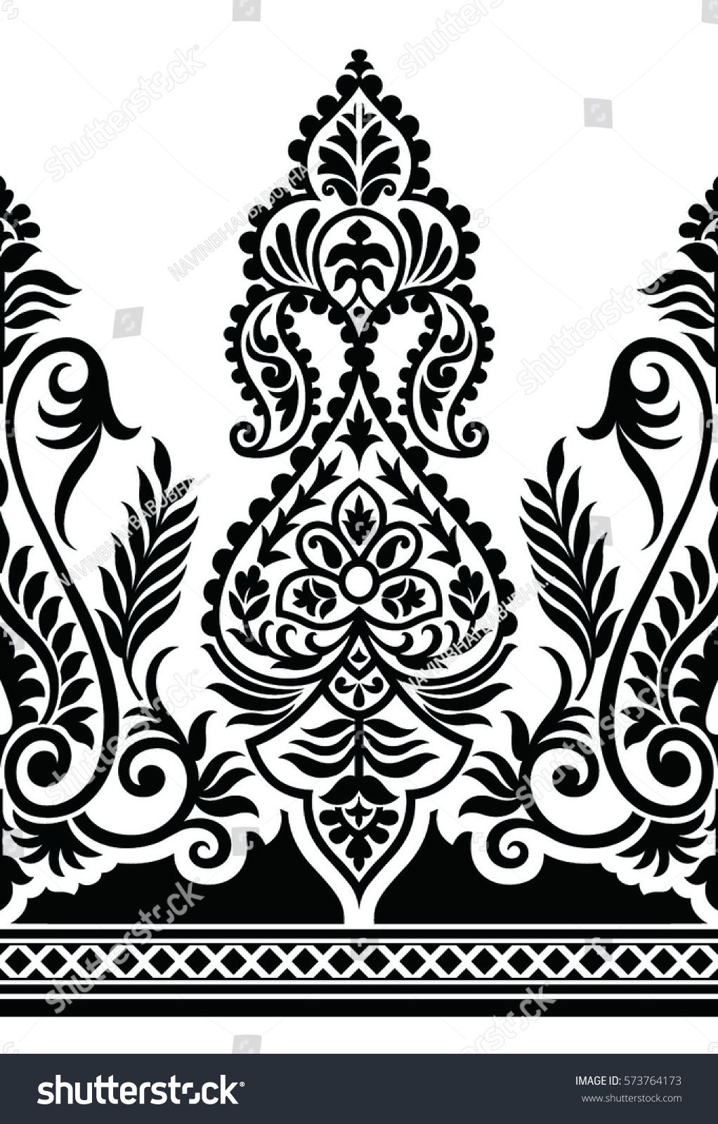 Paisley clipart accent border. Traditional black and white