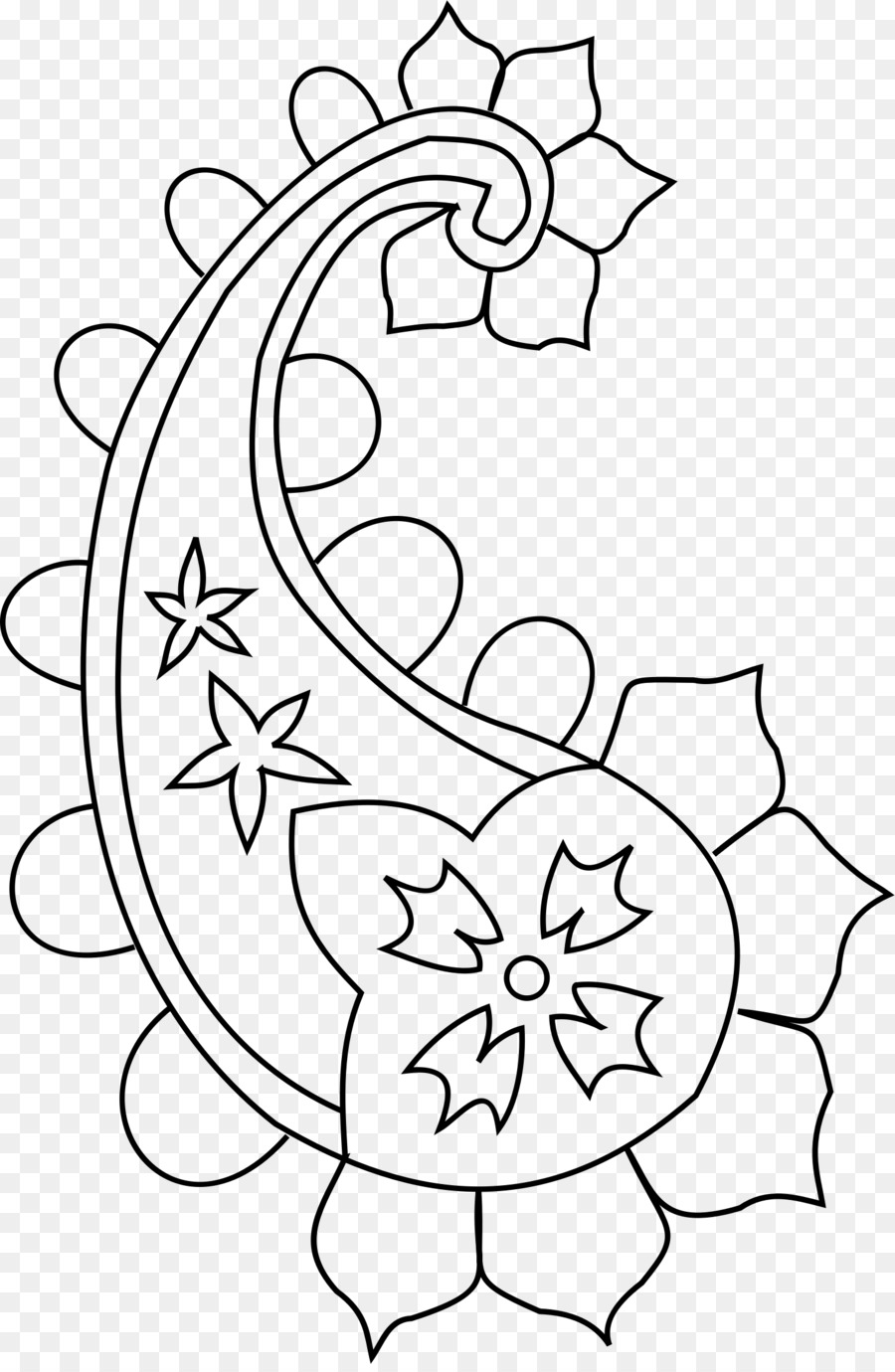 Paisley clipart black and white. Flower hand transparent