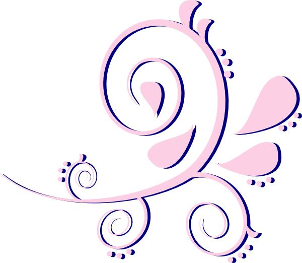 Paisley clipart damask. Curves pink on blue