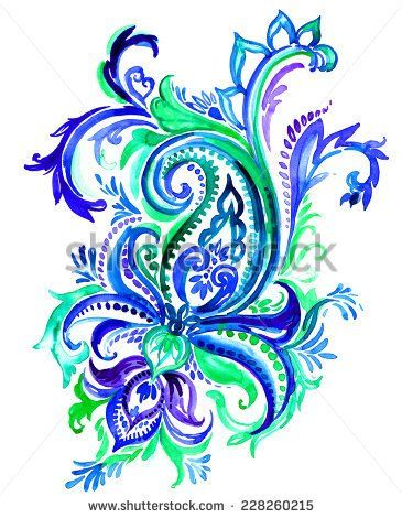Paisley clipart design india. Large indian motif on