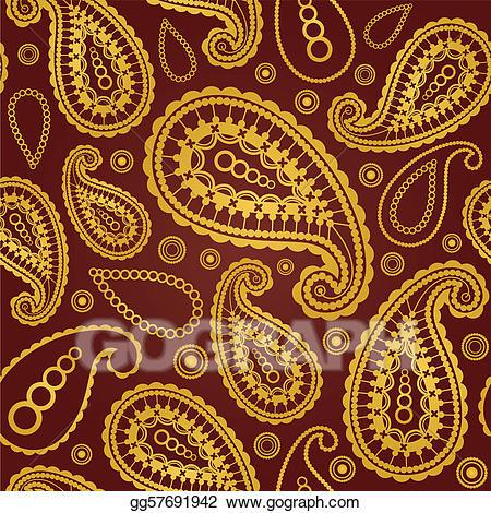 Eps illustration seamless golden. Paisley clipart gold paisley
