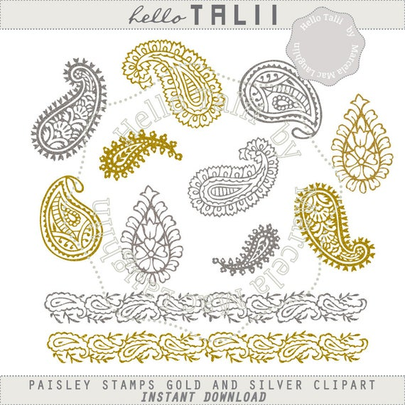 Stamps and silver arabesques. Paisley clipart gold paisley
