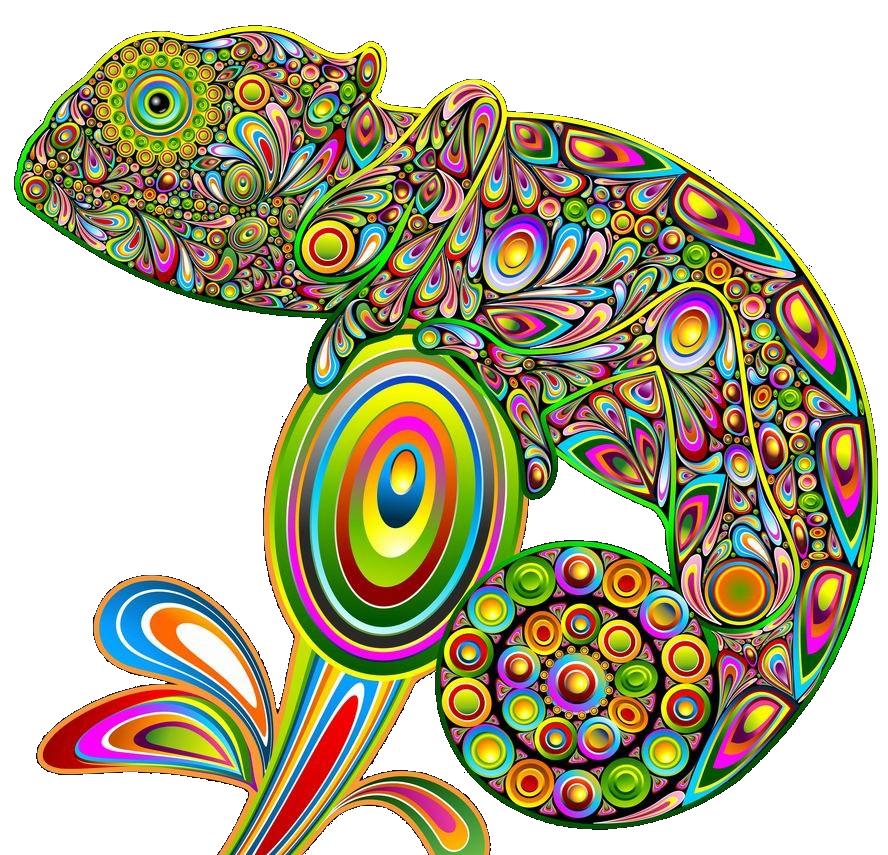 Chameleons lizard psychedelic art. Paisley clipart mango
