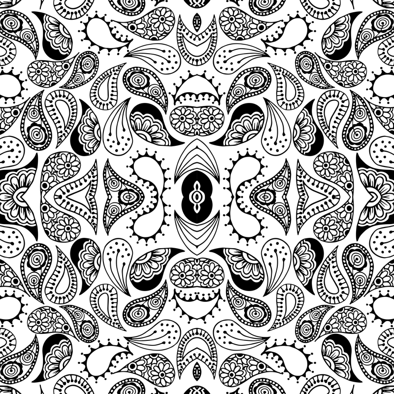 Wheat clipart gold paisley. Black and white fabric