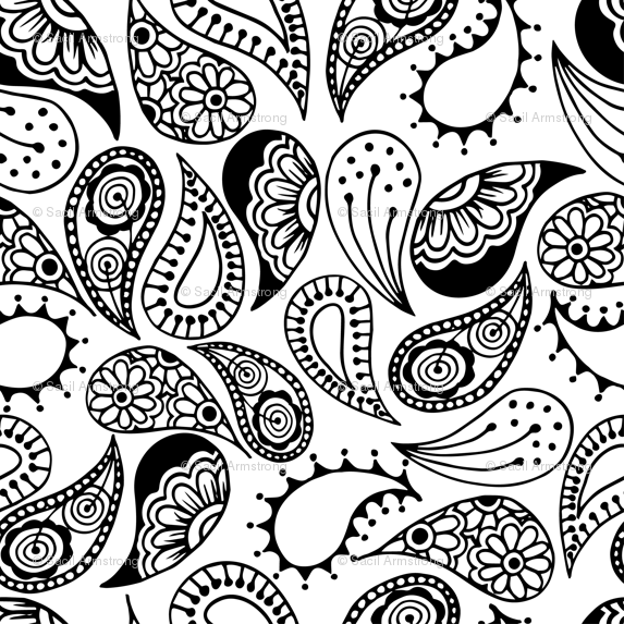 Paisley clipart paisley print. Black and white fabric