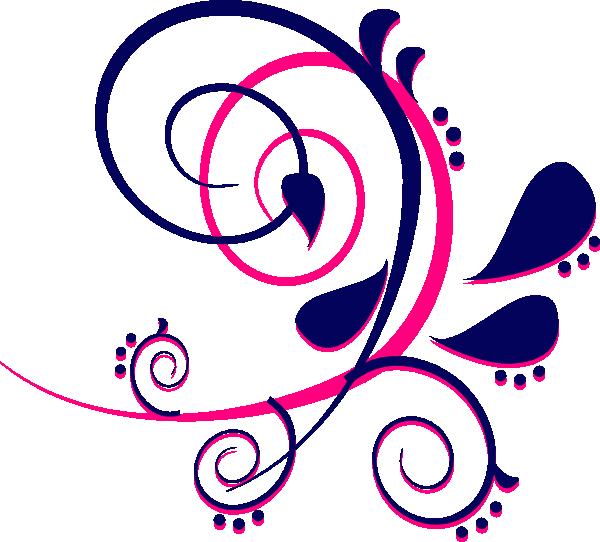 Curves blue pink clip. Paisley clipart paisley print