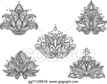 Paisley clipart persian. Vector stock set of