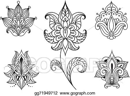 Vector art floral embellishments. Paisley clipart persian