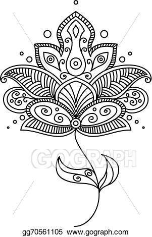 Vector stock flower design. Paisley clipart persian
