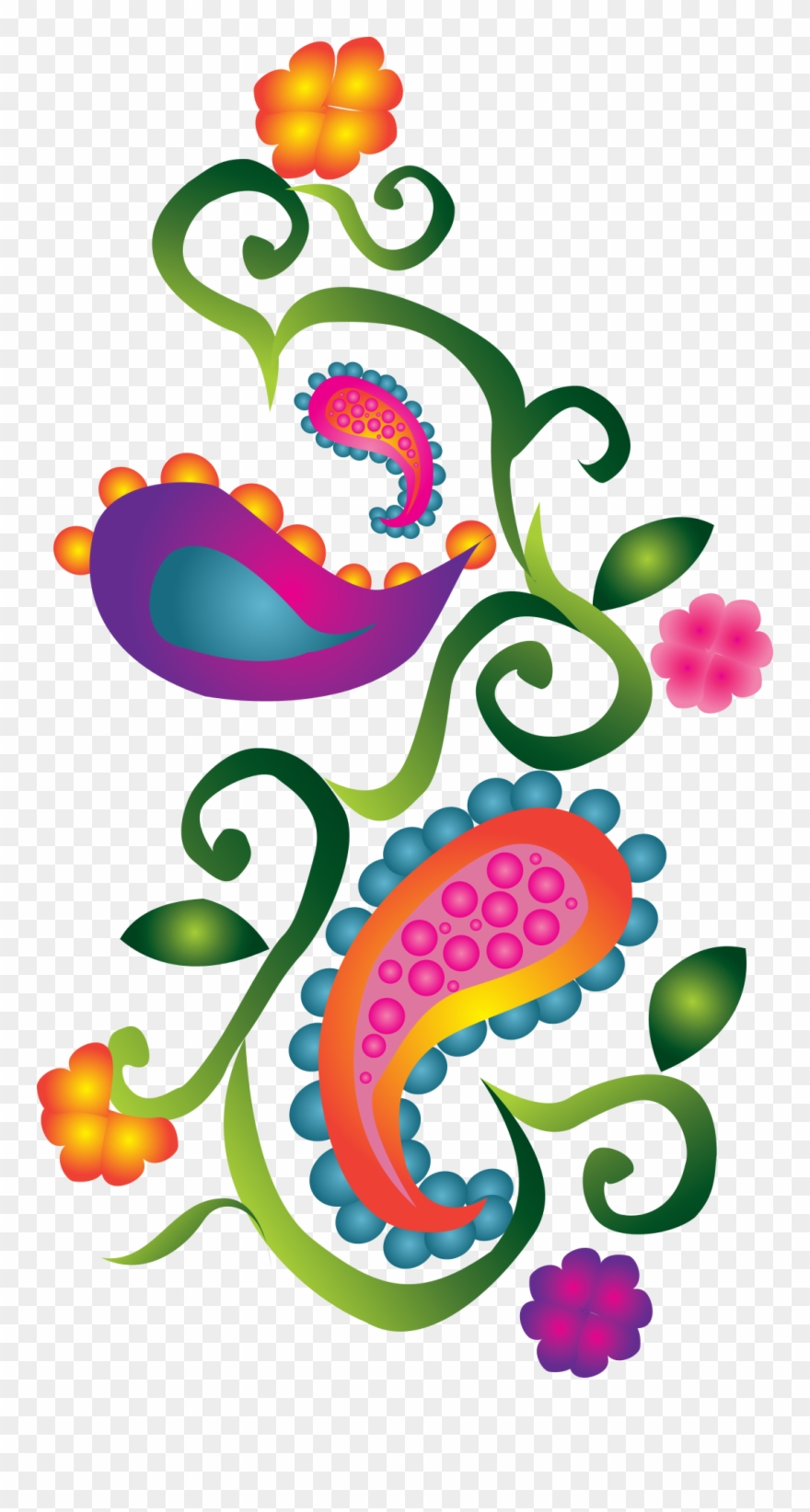 Decorative colorful note cards. Paisley clipart pretty design