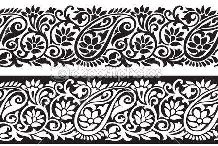 Seamless stock illustration . Paisley clipart saree border