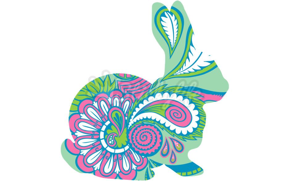 Paisley clipart single. Rabbit decal easter bunny
