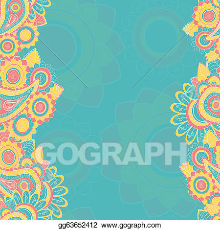 Eps illustration seamless pattern. Paisley clipart teal