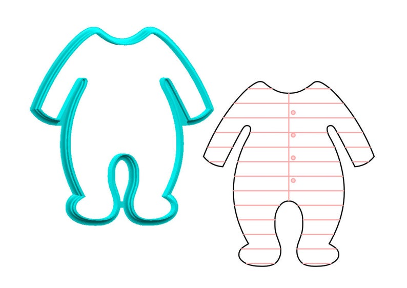 Pajamas clipart baby suit. Footie cookie cutter