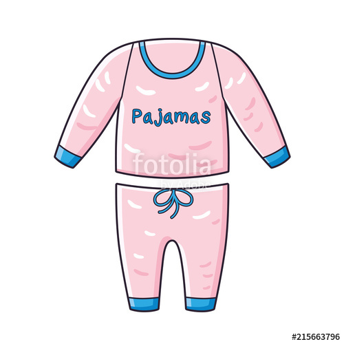 Pajamas clipart vector. Pink isolated stock image