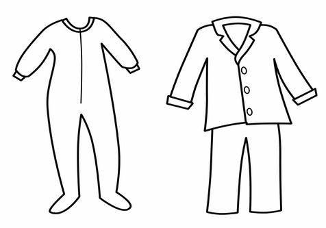 Pajama template for coloring. Pajamas clipart footed