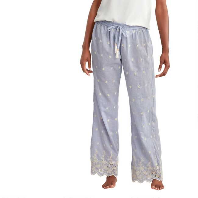 Pajamas clipart night clothes. Blue chambray and ivory