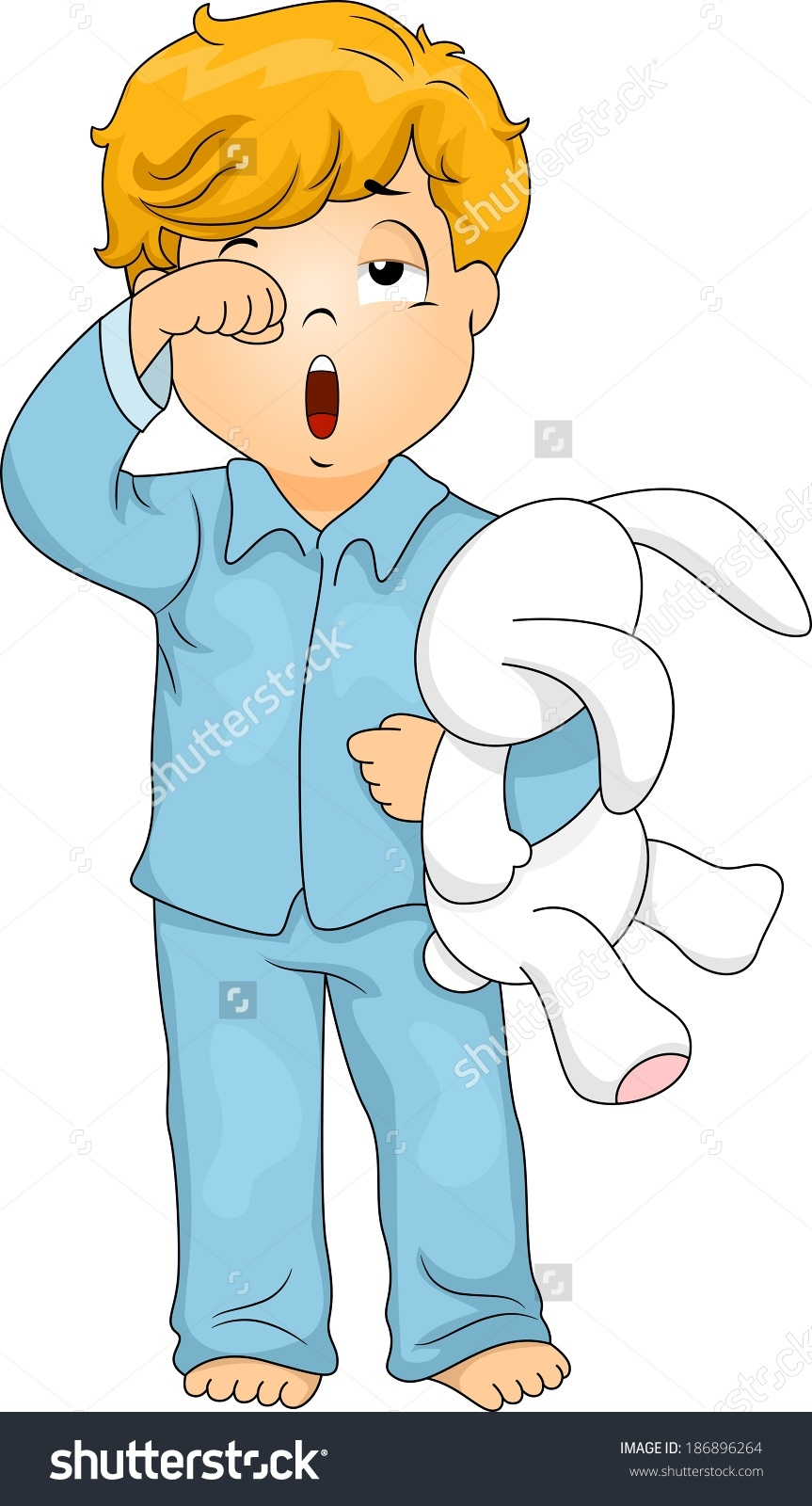 Boy putting on letters. Pajamas clipart
