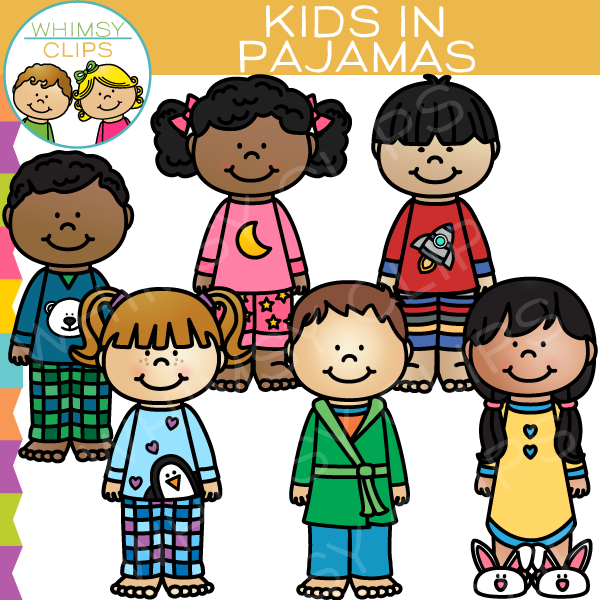 Kids in clip art. Pajamas clipart