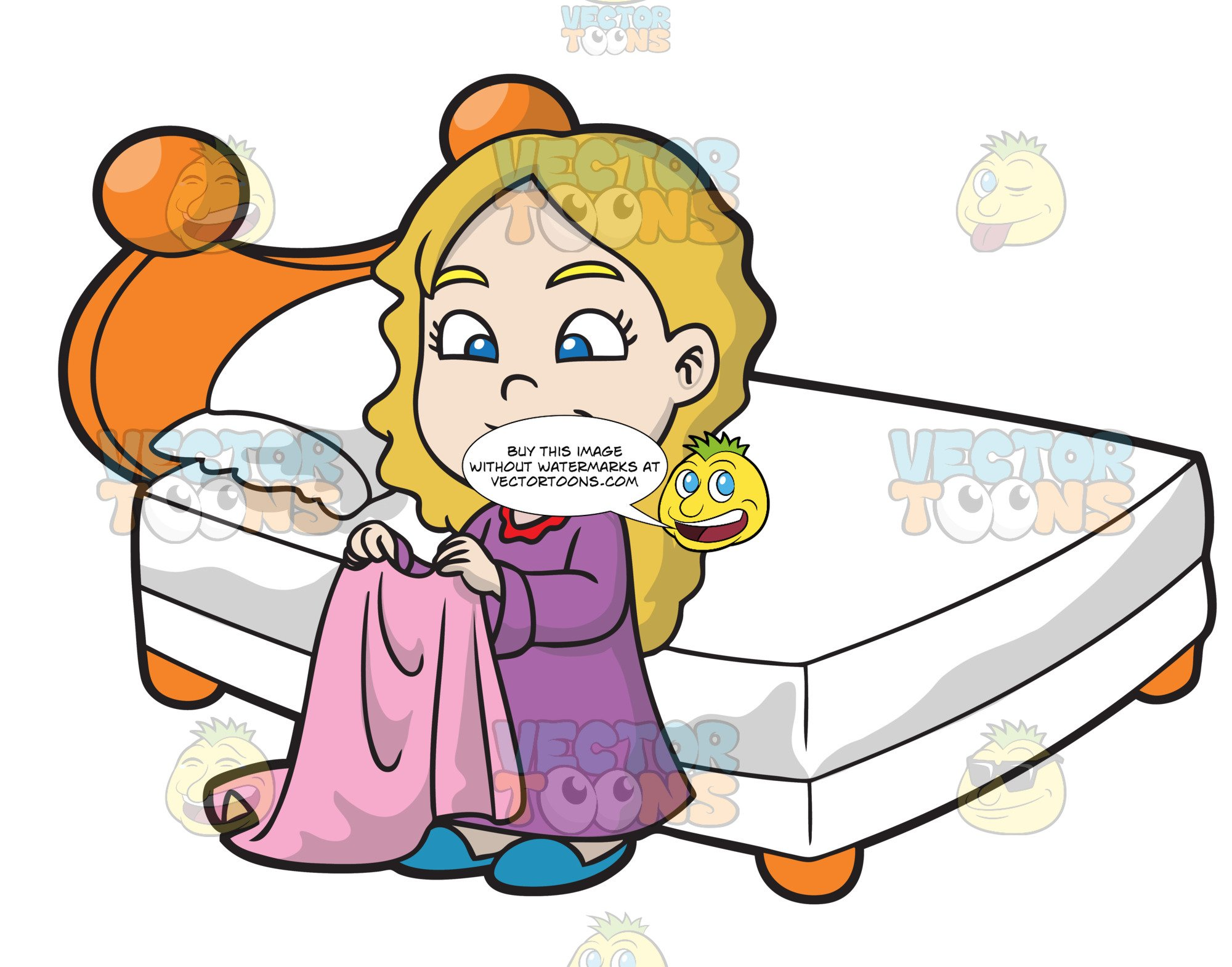 A young girl folding. Pajamas clipart folded