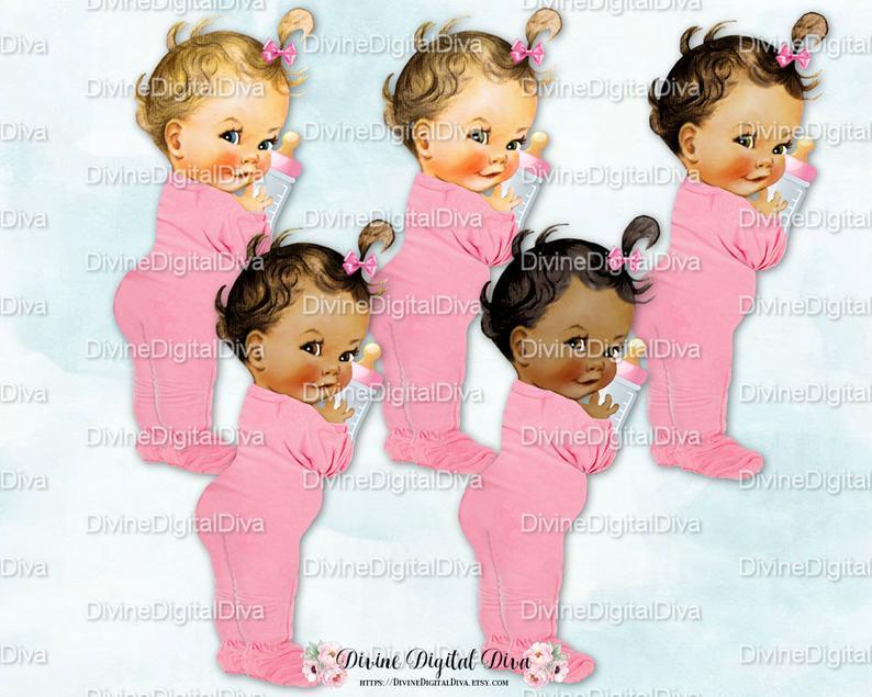 Pajamas clipart footie pajamas. Vintage baby girl pink