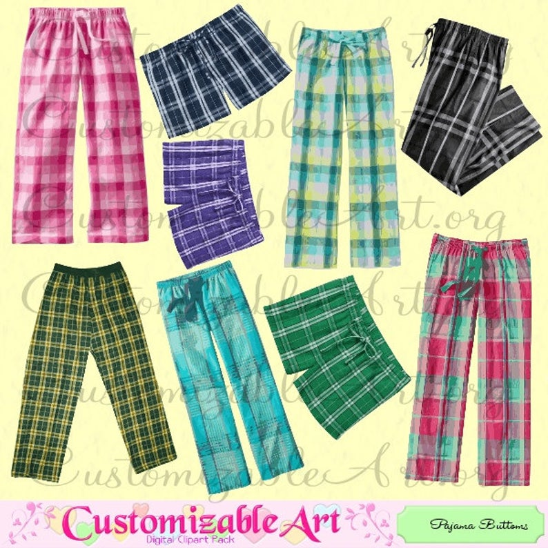 Pants digital clip art. Pajamas clipart pajama bottom