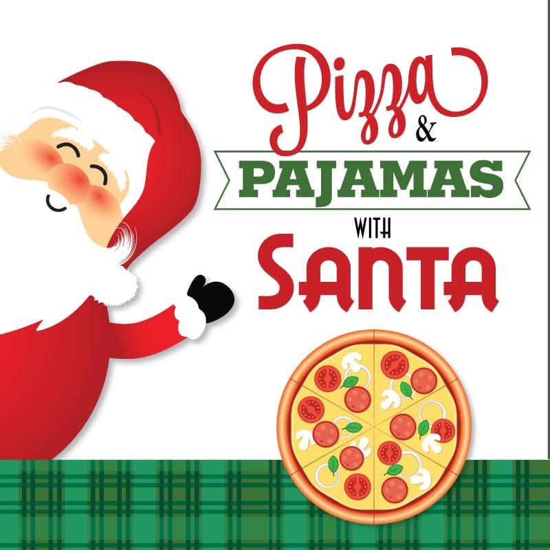 Pajamas clipart santa. Pizza and with