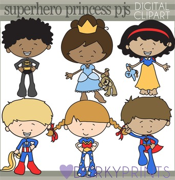 And princess . Pajamas clipart superhero