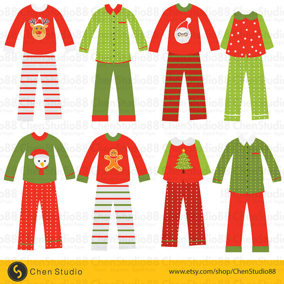 Christmas digital instant . Pajamas clipart vector